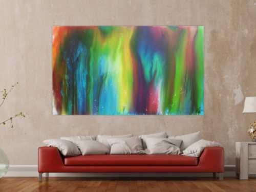 Abstraktes Acrylbild Fliesstechnik sehr bunt modern zeitgenössisch Fluid Painting