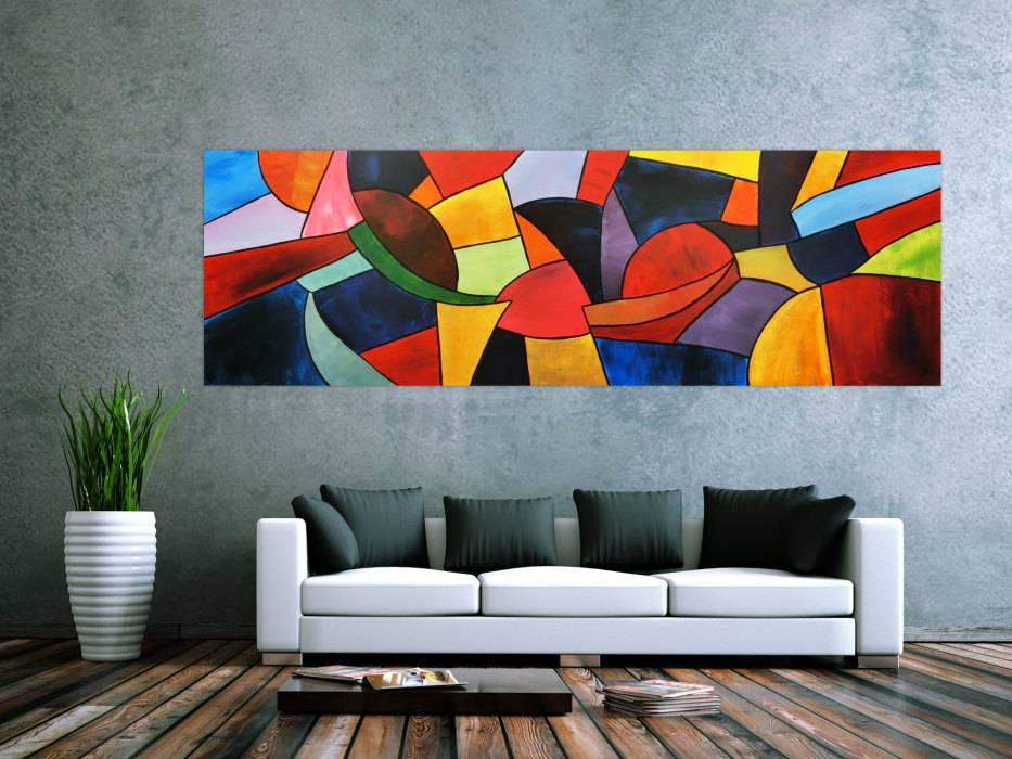 abstraktes acrylbild bunt modern handgemalt auf leinwand in 80x255cm von alex zerr. Black Bedroom Furniture Sets. Home Design Ideas