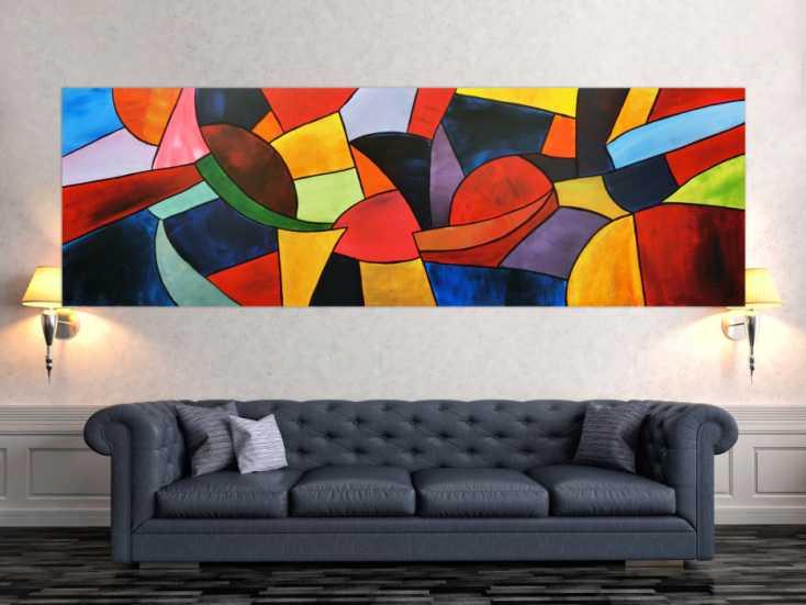 abstraktes acrylbild bunt modern auf leinwand 80x255cm. Black Bedroom Furniture Sets. Home Design Ideas