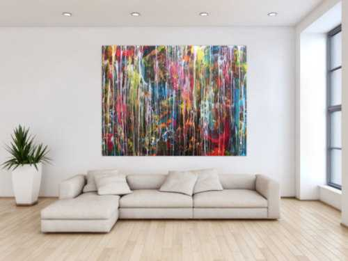Abstraktes Gemälde modern Großormat sehr bunt Mischtechnik zeitgenössich