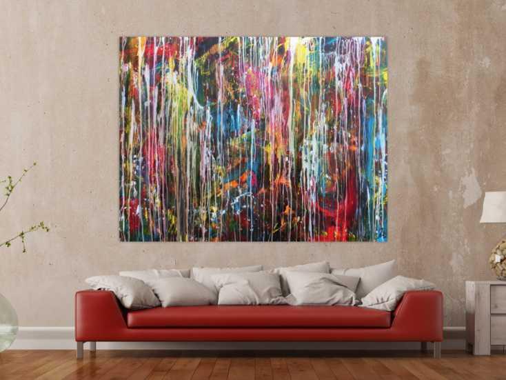 abstraktes gem lde modern gro ormat sehr bunt mischtechnik. Black Bedroom Furniture Sets. Home Design Ideas