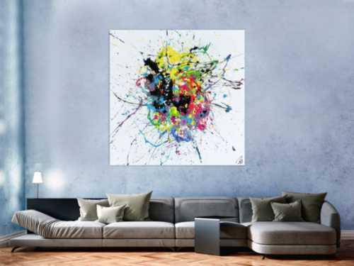 Abstraktes Acrylbild sehr bunt auf weißtem Hintergrund modern Action Painting expressionistisch Splash Art