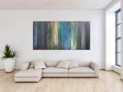 Abstraktes Acrylbild Fließtechnick Flruid Painting blau grau grün gelb