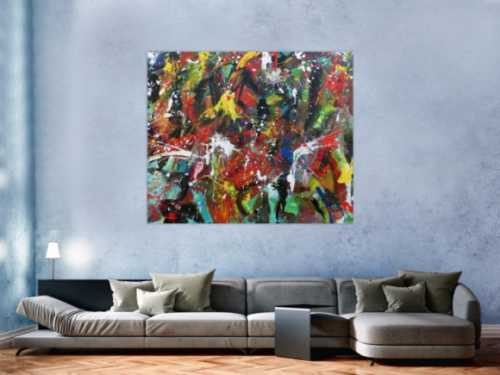 Abstraktes Gemälde bunte Malerei handgemalt modernes Bild viele Farben Action Painting