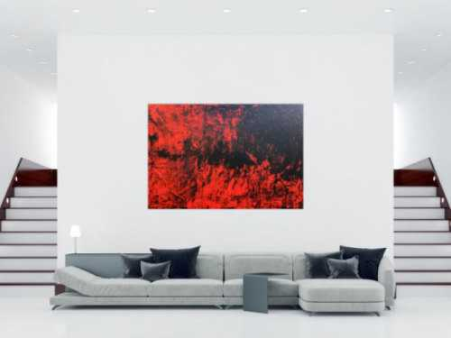 Abstraktes Acrylbild expressionistisch modern in rot schwarz minimalistisch schlicht