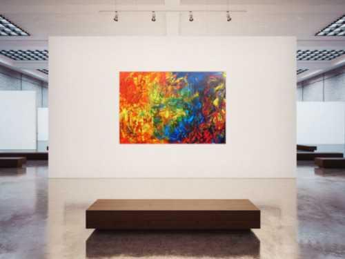 Abstraktes Acrylbild sehr bunt Spachteltechnik modern viele Farben rot blau grün gelb