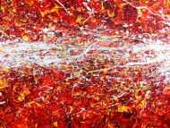 Detailaufnahme Modernes Acrylbild Actionpainting abstrakt in rot gelb weißen Farben