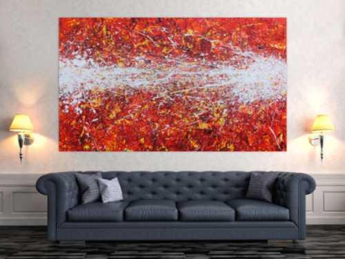 Modernes Acrylbild Actionpainting abstrakt in rot gelb weißen Farben