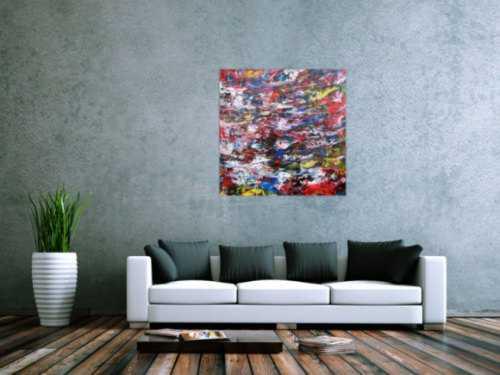 Abstraktes Acrylbild sehr bunt Spachteltechnik modern zeitgenössisch