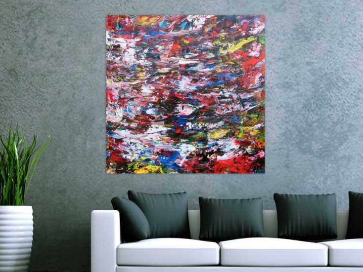 abstraktes acrylbild sehr bunt spachteltechnik modern zeitgen ssisch auf leinwand 90x90cm. Black Bedroom Furniture Sets. Home Design Ideas