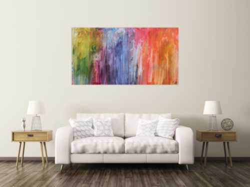 Abstraktes Acrylbild Fließtechnik sehr bunt modern Fluid Painting abstract