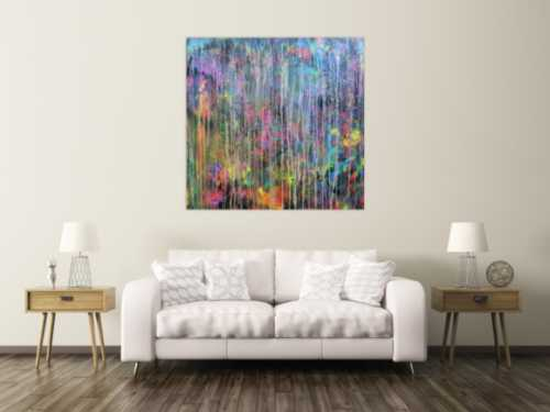 Abstraktes Acrylbild Mischtechnik sehr bunt kräftige Farben sehr modern zeitgenössisch