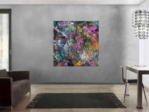 Abstraktes Acrylbild modernes Gemälde sehr bunt dunkel zeitgenössisch Mischtechnik