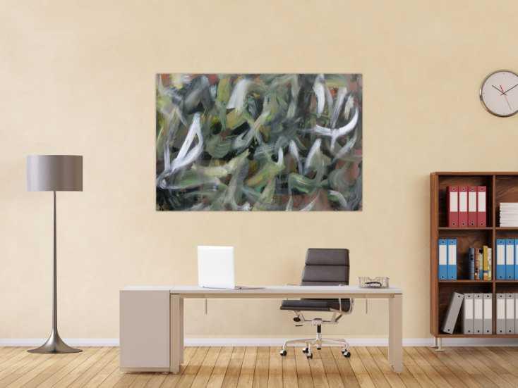 #1053 Abstraktes Acrylbild Camouflage sehr modern zeitgenössisch handgemalt 100x150cm von Alex Zerr