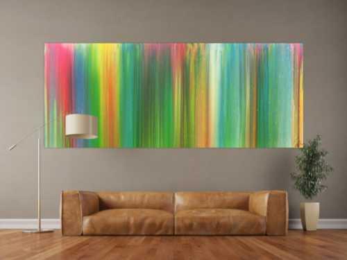 Abstraktes Acrylbild sehr bunt Fließtechnik Panoramaformat sehr modern groß