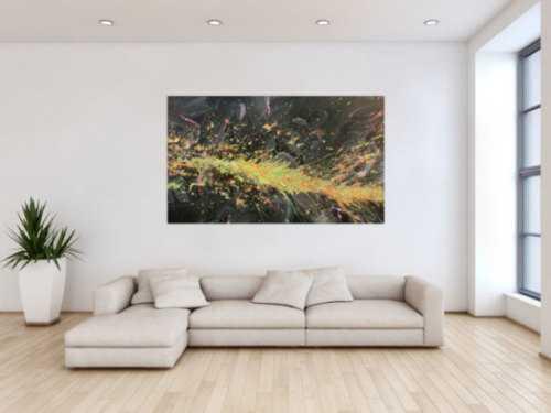 Abstraktes Acrylbild Action Painting sehr modern auf dunklem Hintergrund Splash Art