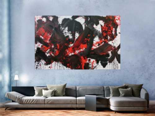 Abstraktes Acrylbild Action Painting schwarz rot weiß sehr modern
