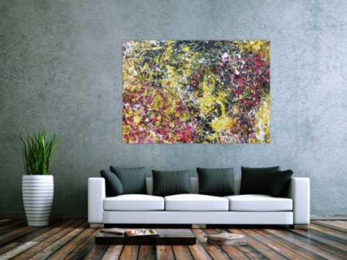 Modernes abstraktes Acrylbild Action Painting gelb schwarz magenta weiß sehr modern