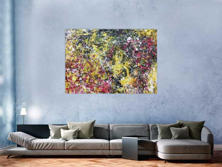 #1057 Modernes abstraktes Acrylbild Action Painting gelb schwarz magenta ... 110x150cm von Alex Zerr