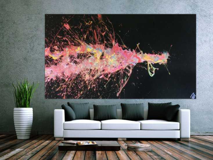 abstraktes acrylbild sehr gro action painting auf schwarzen hintergrund bunte farben splash art. Black Bedroom Furniture Sets. Home Design Ideas
