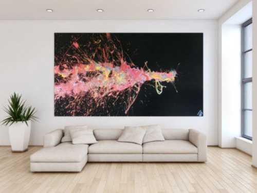 Abstraktes Acrylbild sehr groß Action Painting auf schwarzen Hintergrund bunte Farben Splash Art