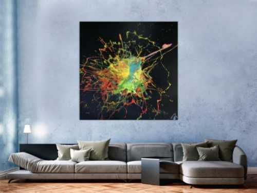 Abstraktes Acrylbild Action Painting Splash Art sehr bunt auf schwarzem Hintergrund