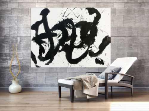 Abstraktes Gemälde Acrylbild schwarz weiß modern Action Painting schlicht handgemalt