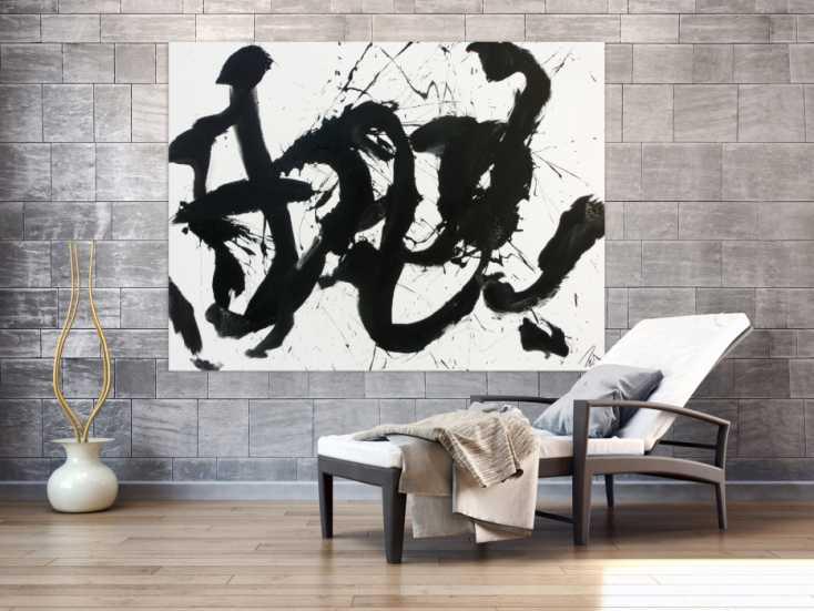 #1060 Abstraktes Gemälde Acrylbild schwarz weiß modern Action Painting ... 130x170cm von Alex Zerr
