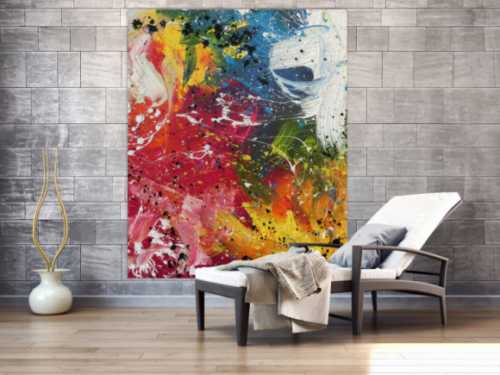 Abstraktes Acrylbild sehr bunt modern Action Painting viele helle Farben