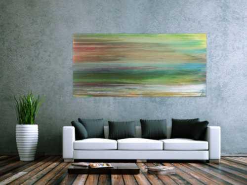 Abstraktes Acrylbild Fließtechnik Fluid Painting sehr modern helle Farben grau grün hellbau weiß