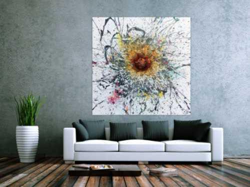 Abstraktes Acrylbild Acryl und Rost Mischtechnik sehr modern Action Painting mit starker Struktur