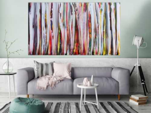Abstraktes Acrylbild sehr bunt mit weißen Streifen sehr modern