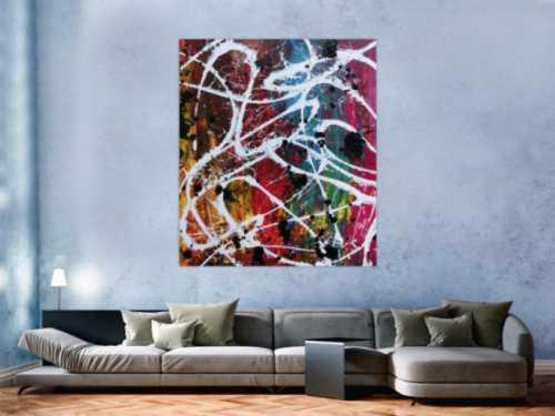 Abstraktes Acrylbild Action Painting sehr bunt viele Farben Splash Art