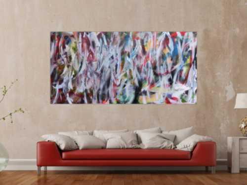 Abstraktes Gemälde buntes Acrylbild Mischtechnik sehr modern bunt und weiß