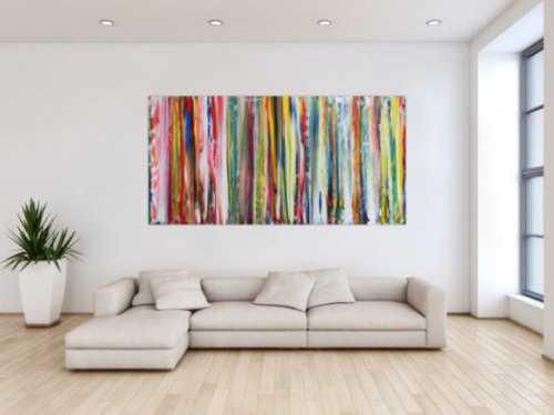 Abstraktes Acrylbild sehr bunte Streifen sehr modern