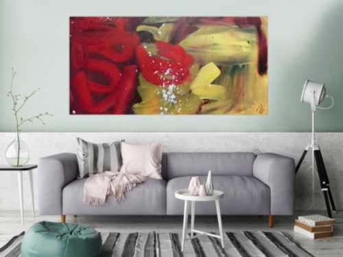 Abstraktes Acrylbild modern zeitgenössisch rot gelb braun sehr modern und schlicht