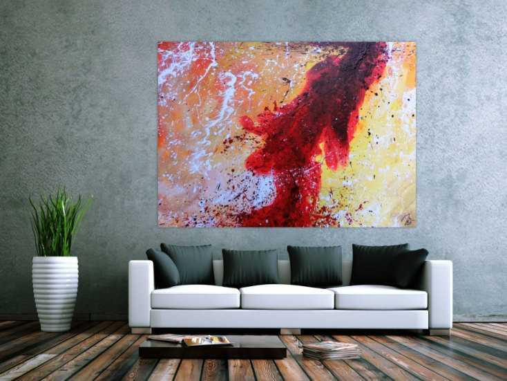 #1069 Abstraktes Acrylbild sehr modern in rot weiß schwarz gelb warme ... 140x180cm von Alex Zerr