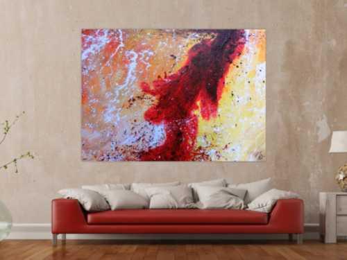 Abstraktes Acrylbild sehr modern in rot weiß schwarz gelb warme Farben