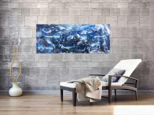 Abstraktes Actylbild in grau und blau