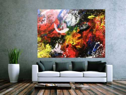 Abstraktes Acrylbild sehr bunt zeitgenössisch Action Painting sehr modern viele Farben