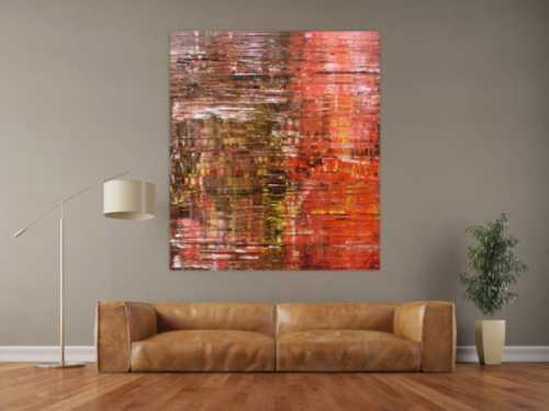 Abstraktes Acrylbild Spachteltechnik mehr modern zeitgenössisch in braun und rot