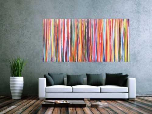 Abstraktes Acrylbild Gemälde bunte Streifen sehr modern helle bunte Farben