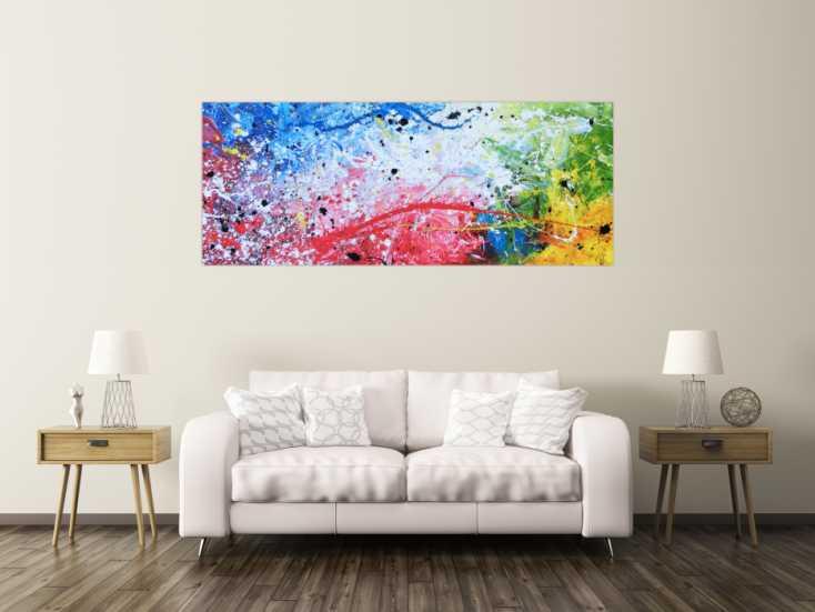 abstraktes acrylbild sehr modern bunt helle farben rot wei gr n blau gelb auf leinwand 80x200cm. Black Bedroom Furniture Sets. Home Design Ideas
