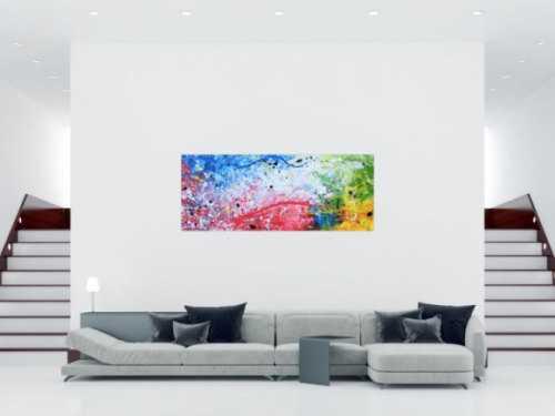 Abstraktes Acrylbild sehr modern bunt helle Farben rot weiß grün blau gelb