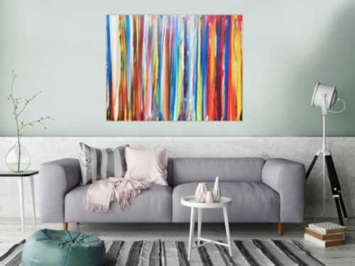 Abstraktes Acrylbild bunte Streifen sehr modern helle bunte Farben