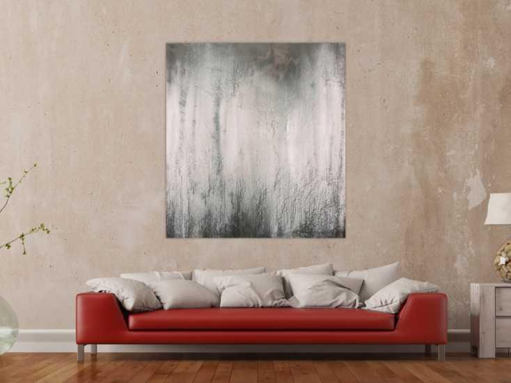 abstraktes acrylbild schwarz wei grau sehr modern feine struktur zeitgen ssisch schlicht auf. Black Bedroom Furniture Sets. Home Design Ideas