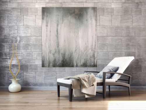Abstraktes Acrylbild schwarz weiß grau sehr modern feine Struktur zeitgenössisch schlicht