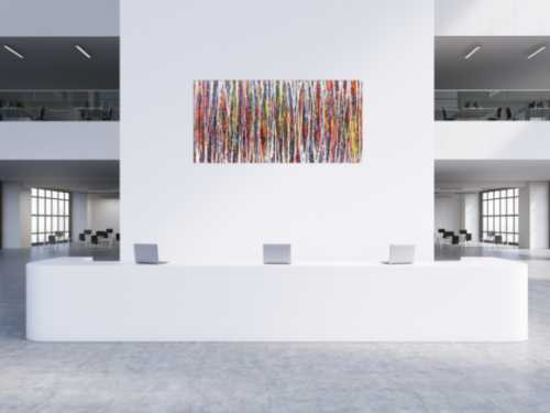 Abstraktes Acrylbild Action Painting sehr bunt modern weiße und bunte Streifen