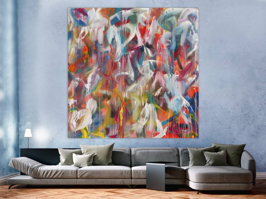 abstraktes acrylbild helle farben sehr bunt modern zeitgen ssisch handgemalt handgemalt auf. Black Bedroom Furniture Sets. Home Design Ideas