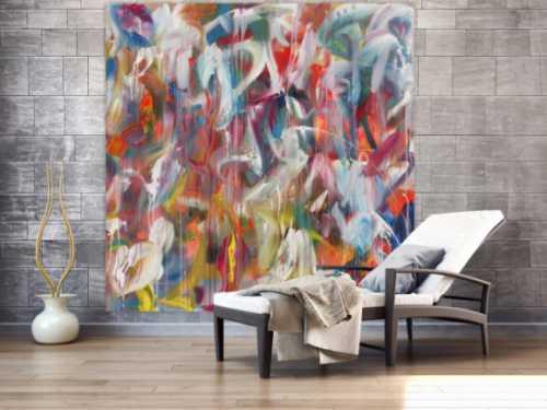 Abstraktes Acrylbild helle Farben sehr bunt modern zeitgenössisch handgemalt